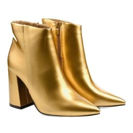 Złote botki na słupku suwak Adrietina złoty 2