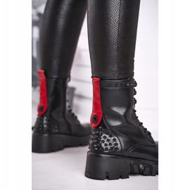 FG2 Botki Damskie Na Platformie Grunge Czarne Angels Rock czerwone 6