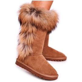 HAN Damskie Botki Śniegowce Ocieplane Skórzane Camel Balvin brązowe 5