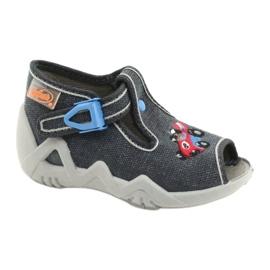 Befado obuwie dziecięce 217P106 niebieskie szare 1