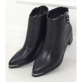 Botki migdałowe noski licowe czarne 88168 Black 1