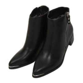 Botki migdałowe noski licowe czarne 88168 Black 2
