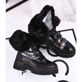 Apawwa Dziecięce Śniegowce Ocieplone Futerkiem Czarno Szare Turismo czarne 1