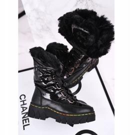 Apawwa Dziecięce Śniegowce Ocieplone Futerkiem Czarne Turismo 7