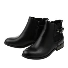 Czarne płaskie botki z gumką i suwakiem 20Y8035-1 3