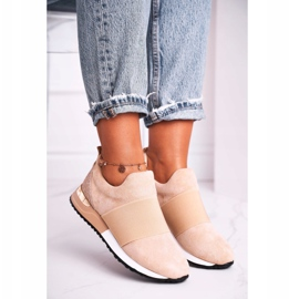 FB2 Sportowe Damskie Buty Sneakersy Slip-on Beżowe Say Something beżowy 1