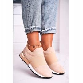 FRBS Sportowe Damskie Buty Sneakersy Slip-on Beżowe Say Something beżowy 1