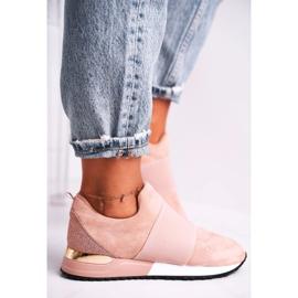 FB2 Sportowe Damskie Buty Sneakersy Slip-on Różowe Say Something beżowy 4