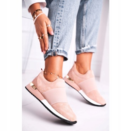 FB2 Sportowe Damskie Buty Sneakersy Slip-on Różowe Say Something beżowy 1
