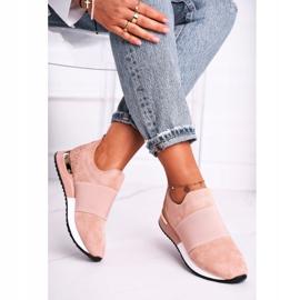 FB2 Sportowe Damskie Buty Sneakersy Slip-on Różowe Say Something beżowy 2