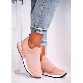 FB2 Sportowe Damskie Buty Sneakersy Slip-on Różowe Say Something beżowy 3