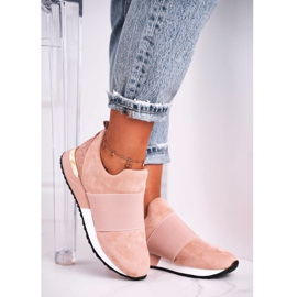 FRBS Sportowe Damskie Buty Sneakersy Slip-on Różowe Say Something beżowy 3