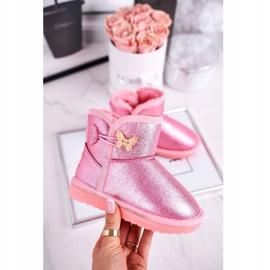 Apawwa Ocieplane dziecięce botki śniegowce z motylkiem różowe Cosmic 1