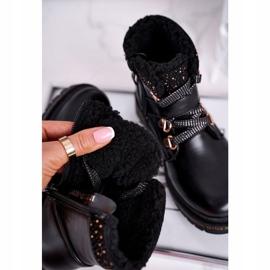 Dziecięce młodzieżowe botki z kożuszkiem czarne Rhythm 4