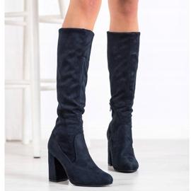 Sweet Shoes Stylowe Granatowe Kozaki niebieskie 3