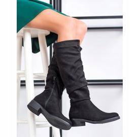 Sweet Shoes Zamszowe Kozaki czarne 1