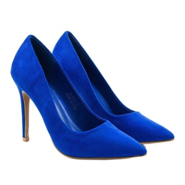 Niebieskie klasyczne szpilki zamszowe Hyirnar 3
