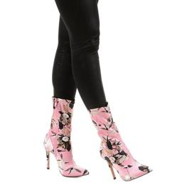 Różowe botki na szpilce ze skarpetą Santana wielokolorowe 1