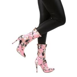 Różowe botki na szpilce ze skarpetą Santana wielokolorowe 3