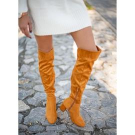 Sweet Shoes Kozaki Z Szeroką Cholewką żółte 2
