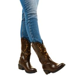 Brązowe botki kowbojki ocieplane Eshirixis beżowy 1