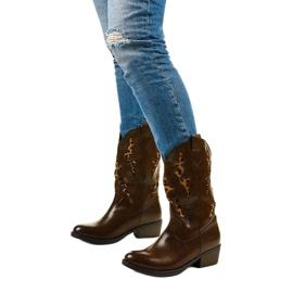 Brązowe botki kowbojki ocieplane Eshirixis beżowy 2
