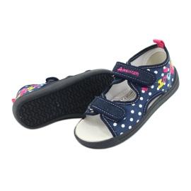 American Club Kapcie sandałki buty dziecięce American wkładka skórzana granatowe różowe 3