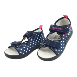 American Club Kapcie sandałki buty dziecięce American wkładka skórzana granatowe różowe 2