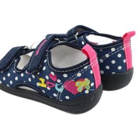 American Club Kapcie sandałki buty dziecięce American wkładka skórzana granatowe różowe 5