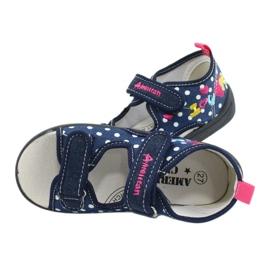 American Club Kapcie sandałki buty dziecięce American wkładka skórzana granatowe różowe 4