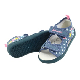 American Club Kapcie sandałki buty dziecięce American wkładka skórzana białe niebieskie różowe 3