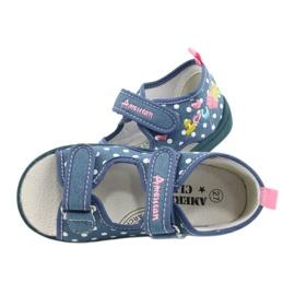 American Club Kapcie sandałki buty dziecięce American wkładka skórzana białe niebieskie różowe 4