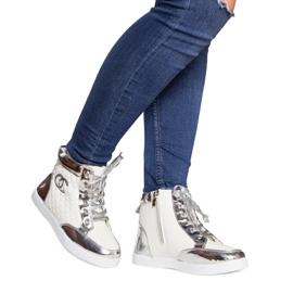 Wysokie Trampki Sneakersy R17 Biały białe srebrny 1