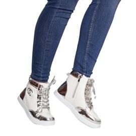 Wysokie Trampki Sneakersy R17 Biały białe srebrny 2
