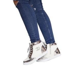 Wysokie Trampki Sneakersy R17 Biały białe srebrny 3