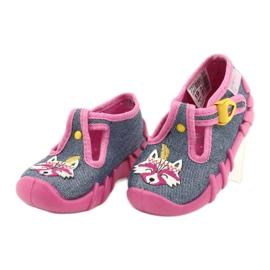 Befado obuwie dziecięce 110P395 różowe szare 3