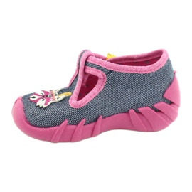Befado obuwie dziecięce 110P395 różowe szare 2