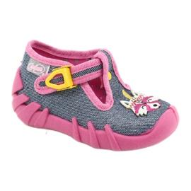 Befado obuwie dziecięce 110P395 różowe szare 1