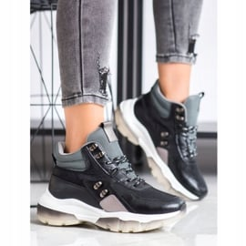 SHELOVET Czarne Sneakersy Fashion wielokolorowe 1