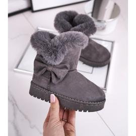 FRROCK Dziecięce botki śniegowce z futerkiem kokardką szare Vella 3