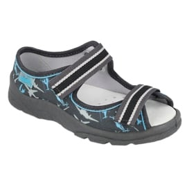 Befado obuwie dziecięce  869Y143 czarne niebieskie szare 1