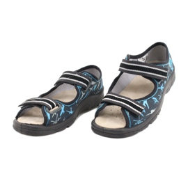 Befado obuwie dziecięce  869Y143 czarne niebieskie szare 3