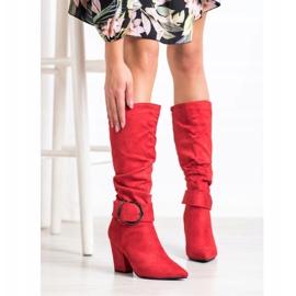 Sweet Shoes Eleganckie Kozaki Z Klamrą czerwone 1