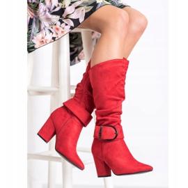 Sweet Shoes Eleganckie Kozaki Z Klamrą czerwone 2