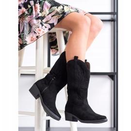 Ideal Shoes Kowbojki Na Niskim Słupku czarne 2