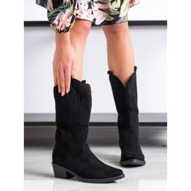 Ideal Shoes Kowbojki Na Niskim Słupku czarne 1