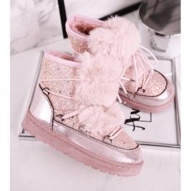 FRROCK Dziecięce Botki Śniegowce Z Futerkiem Pink Minnie Mouse różowe srebrny 1