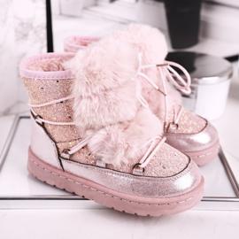 FRROCK Dziecięce Botki Śniegowce Z Futerkiem Pink Minnie Mouse różowe srebrny 2