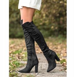 Sweet Shoes Wysokie Kozaki W Szpic czarne 2