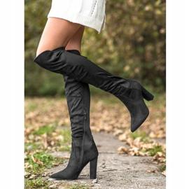 Sweet Shoes Wysokie Kozaki W Szpic czarne 3